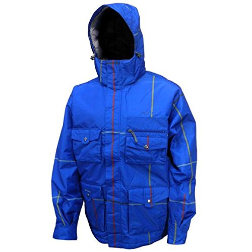 Plaid Snowboarding Jacket - PRECISION MOUNTAIN Mens Rapture Snowboarding Jacket, L, BLUE PLAID