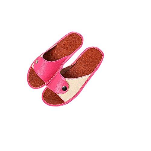 Tellw Primavera Autunno Inverno Pantofole In Pelle Per Il Tempo Libero Pantofole Suola Antiscivolo Scarpe Pantofole In Pelle Di Mucca Per Le Donne Uomini Rosa