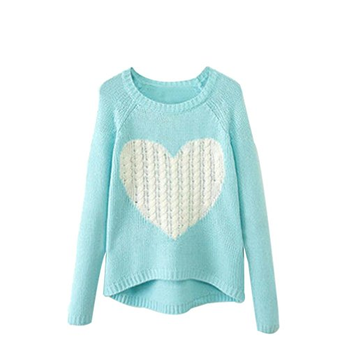 UPLOTER Women Lovely O-neck Long Sleeve Loose Knitting Sweater Jumper Knitwear Outwear (L, Sky Blue)
