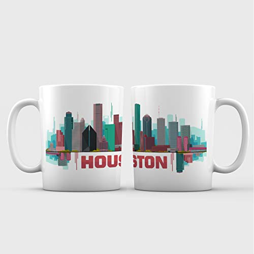 Mug Coffee Houston (Houston City Iconic View Art Ceramic Coffee Mug - 11 oz. - Awesome New Design Colorful Decorative Souvenir Gift Cup for Travelers, Tourists, Men and Women)