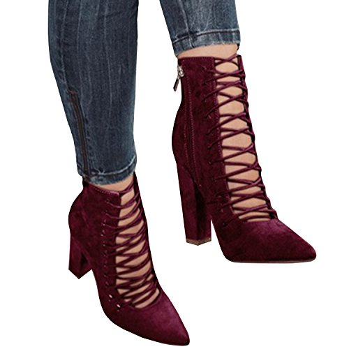 Chuanqi Womens Chunky Ankle Strappy Lace Up Bootie Sandals Pointed Toe High Heels Pumps Wine Red xnuBxu