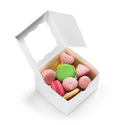 Pack de 50 cajas de repostería con ventana, 4 x 4 x 6,3 cm, para cupcakes, bodas, tartas, baby shower/fiesta, postres,...
