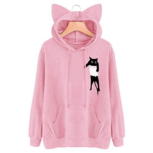 (FORUU Girls Cute Cat Ear Pullover Hoodie Long Sleeve Kangaroo Pouch Sweatshirts Hoody)