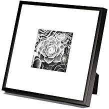Frametory, 8x8 inch Modern Square picture frame, Aluminum Matte Black Photo Frame with Ivory Color Mat for 4x4 Picture & Real Glass (8x8-Table top)