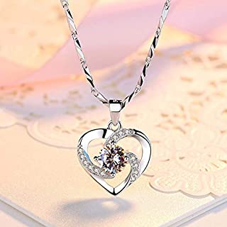 SEN Korean Fashion Heart Zircon Pendants Ladies Lovely Club Necklaces Pendant white
