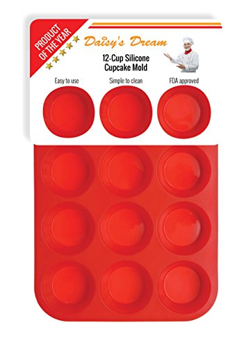 Silicone Muffin Pan / Tin Cupcake Mold by Daisy's Dream - 12 Cup Silicone Pan / Baking Tray - Easy To Use - Simple To Clean, Red Bakeware