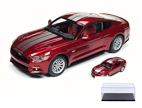 Auto World Diecast Car & Display Case Package - 2017 Ford Mustang GT Hard Top, Ruby Red Metallic w/Silver Stripes AW245 - 1/18 Scale Diecast Model Toy Car w/Display ()