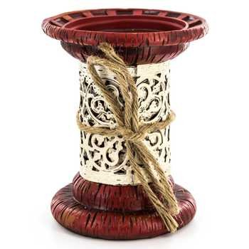 Band Candle Holder - Red Resin Pillar Candle Holder with Metal Band