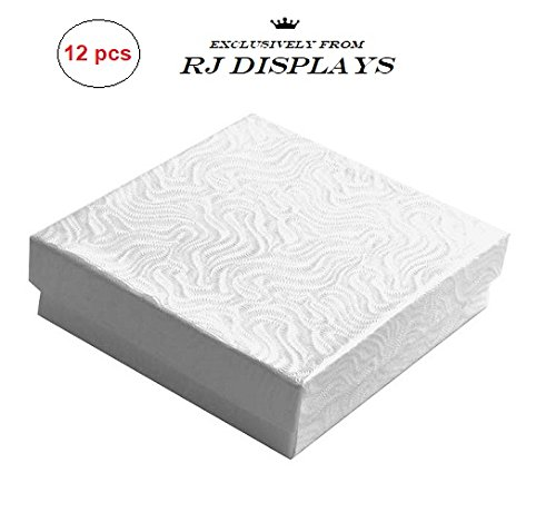 Jewelry Box Elegant (12 Pack Cotton Filled Swirl White Paper Cardboard Jewelry Gift and Retail Boxes 3 X 3 X 1 Inch Size by R J Displays)