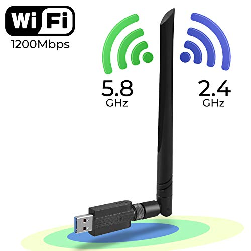 (Wireless WiFi Adapter 1200Mbps USB3.0 WiFi Dongle 2.4G/5G 802.11ac Network Adapter with High Gain Antenna for Desktop Laptop PC Support Windows XP/10/8/8.1/7/Vista/2000,Mac 10.6-10.14)