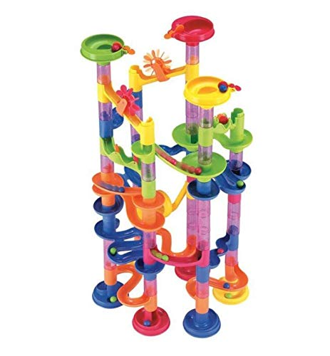 ENJSD Marble Run Set, 91 PCS Marble Race Track Toy for Kids, Construction Building Blocks Stem Toys Game for 4-9 Year Old Kids(61 PCS Complete Pieces+30 PCS Glass Marbles + Installation Manual)