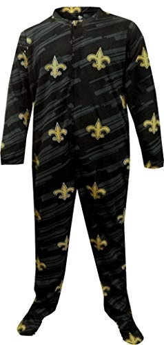 Concepts Sport Men's New Orleans Saints One Piece Footie Pajama (Medium) Black