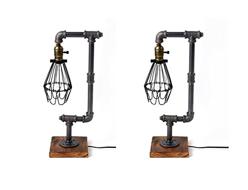 Pack of 2 Bird Cage Designer Steampunk Water Piping Desk Top Table Lamp Wood Base Rustic Home Deco Steam Punk Industrial Interior Design Bedside Minimalist Victorian Edison Iron Retro Lighting Lamps (Lamp Birdcage Base)