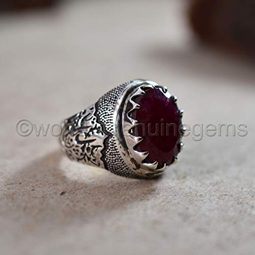 solid 925 sterling silver ring, ruby corundum gemstone ring, arabic designer man's ring, oxidized ring, july birthstone ring, passionate ring, healing ring, oval shape faceted cut mans ring