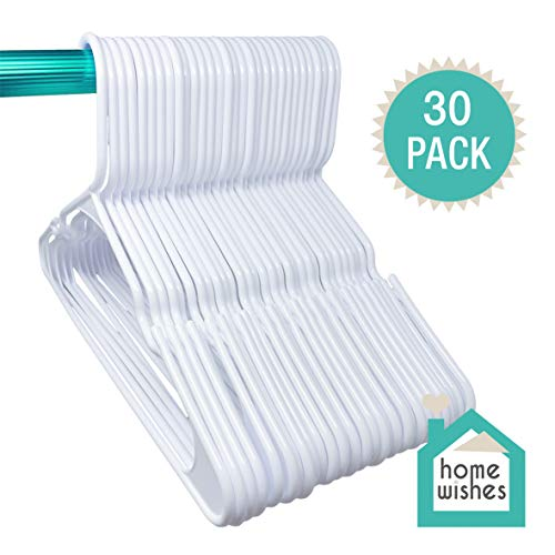 Plastic Clothes Hangers Ideal for Everyday Use, Clothing Hangers, Standard Hangers, White Hangers (30 Pack)