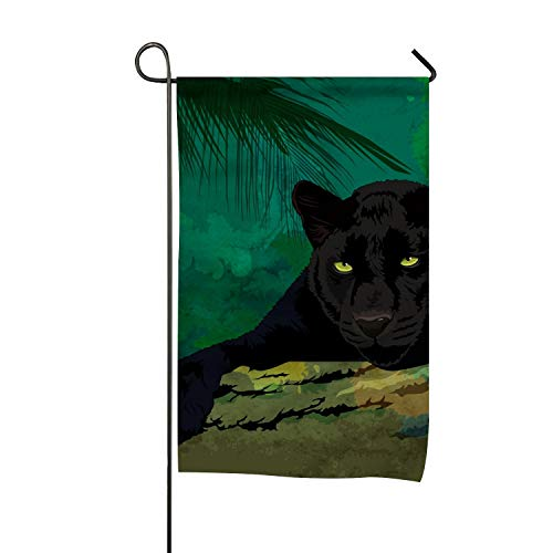 (Lucy Curme Wild Cats Panther Summer Autumn Garden Flag Floral Pansy-Double Sided 28