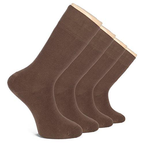 Hugh Ugoli Men's Dress Crew Socks Seamless Cotton Casual Business 4 Pairs (Brown) by Hu Socks