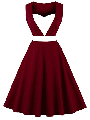 Killreal Women's Sleeveless 1950s Vintage Cocktail Party Patchwork Retro Dress Wine Red X-Large