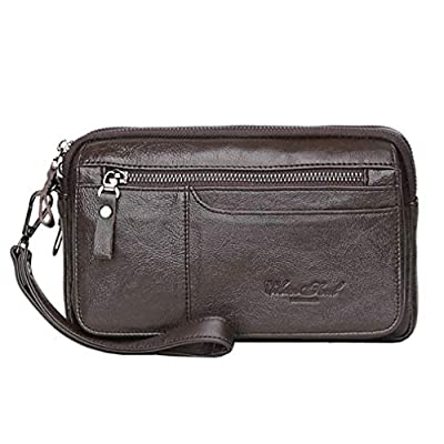 Men Leather Clutch Purse Wallet Wristlet Zipper Organizer Holder Wrist Bag Pack