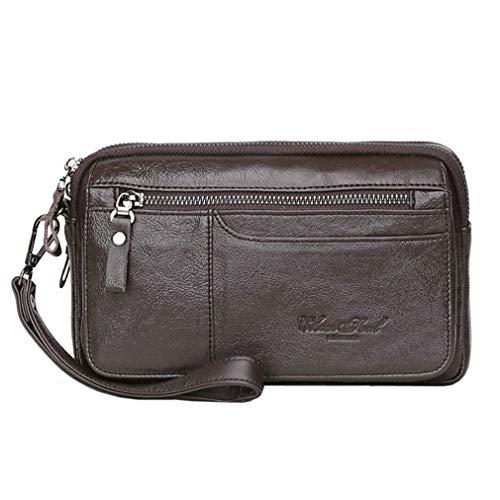 (Hebetag Leather Clutch Purse Wallet for Men Organizer Holder Wrist Bag Business Pack Handbag)