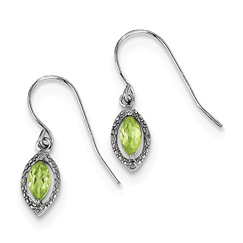 Best Birthday Gift Sterling Silver Rhodium Plated Diamond Peridot Marquise Earrings