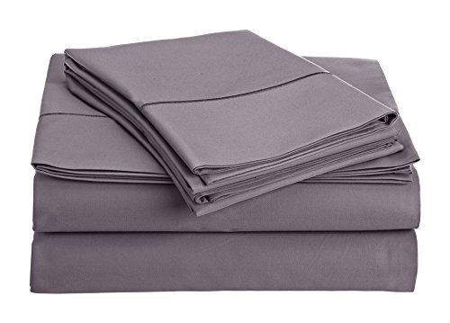 Chateau Home Collection 800-Thread-Count Egyptian Cotton Deep Pocket Sateen Weave Calking Sheet Set, Lilac