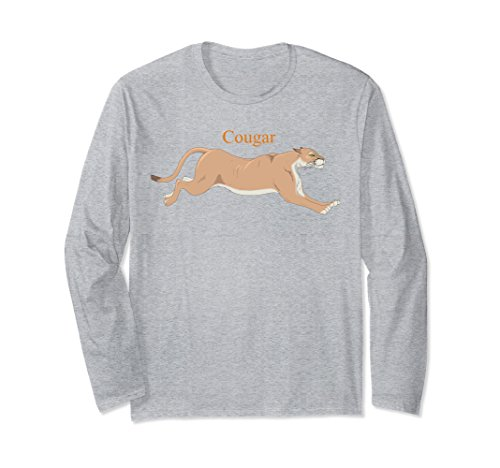 Unisex Cougar Running Long Sleeve Shirt Big Puma Cat Lover Large Heather Grey