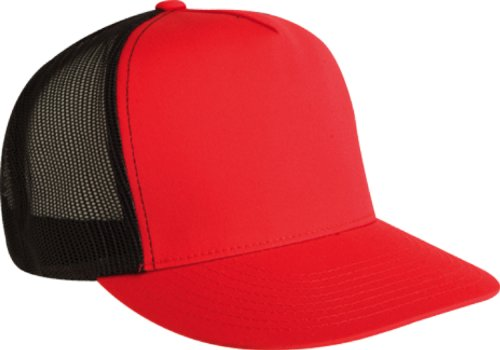 Flexfit Adjustable Snapback Classic Trucker Hat by 6006 (Red/Black) Cotton Trucker Cap