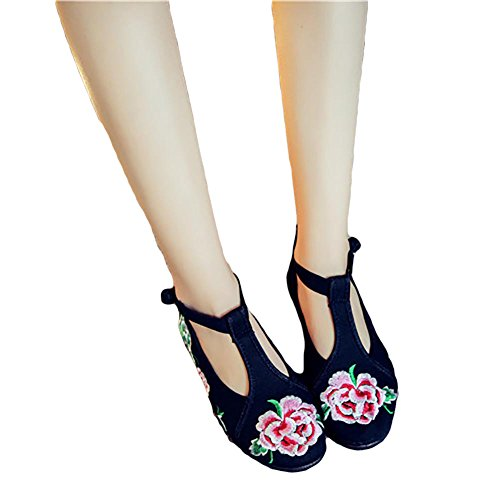 Shoes Flats CHUANGLI Casual Super Sole Vintage Shoes Embroidered Flower Black Rubber Comfortable qnaTRF7