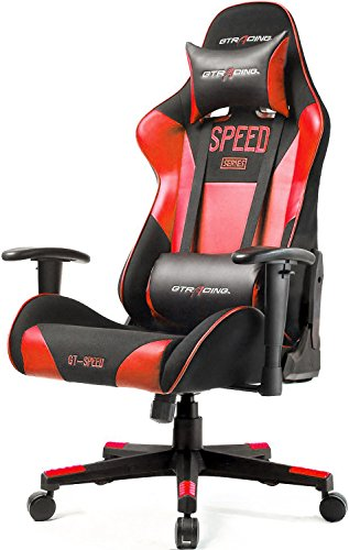 GTRACING Fabric and PU Gaming Chair Racing Chair Backrest and Height Adjustable E-Sports Chair Ergonomic Computer Office Chair Furniture with Pillows (Black/Red)