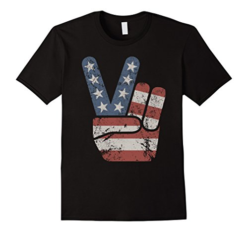 Mens Vintage American Flag Big Peace Sign T-Shirt Large (Stencil 4 Signs)