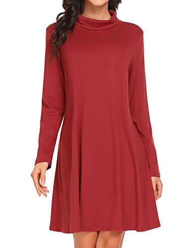 Party Red Casual Shirt Wine Women Dress Midi for Solid T Loose Pinsparkle HtxAPqnaz