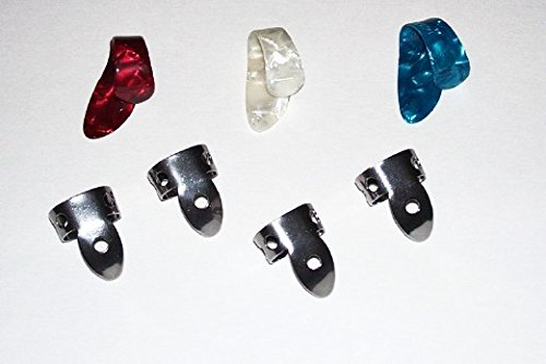 3 Small: Red White Blue Pearloid Thumb Pick and 4 NP1 Steel National Finger Pick 101779; Banjo,  Dobro, Steel, Guitar, USA