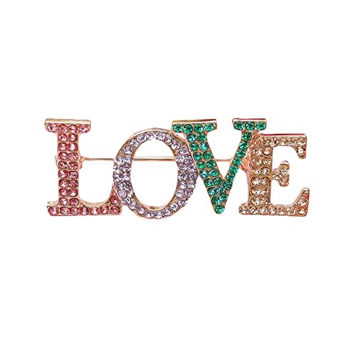 Romantic Multicolored Goldtone Brooch Love Crystal Rhinestone Word Romance Pin Jewelry (Love) - Designer Gold Tone Brooch