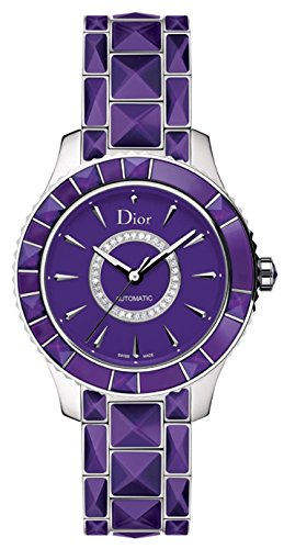 New Ladies Christian Dior Christal Purple Diamonds 38mm Automatic Watch