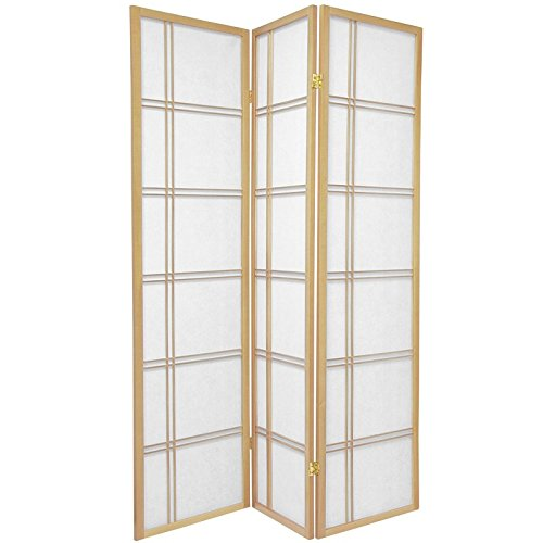 Cosmopolitan Dark Wood (Oriental Furniture 6 ft. Tall Double Cross Shoji Screen - Natural - 3 Panels)