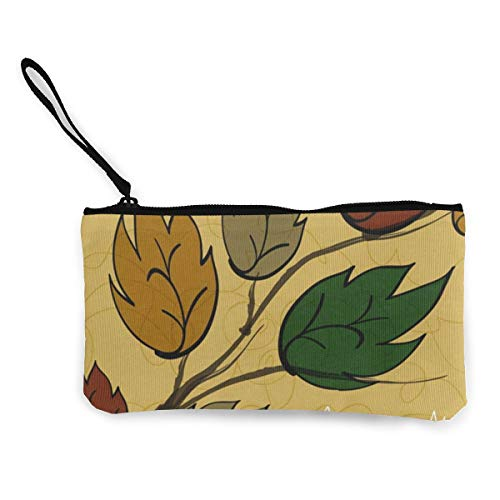 Coin Purse Autumn Leaves Ladies Fastener Canvas Wallet ChangeGreat Bag