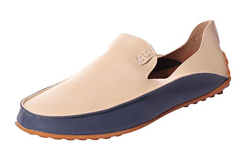 CAIHEE Mens PU Leather Air Hole Casual Moccasins Hollow Breathable Boat Shoes Driving Slip On Loafers Shoes (11 D(M) US, Beige)