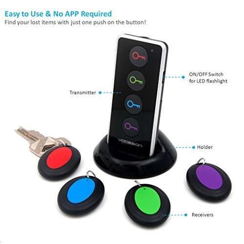 Vodeson KF04A Wireless Key Finder RF Item Locator with Base Support and LED Flashlight, Keys, Wallet, Pet Locator with Sound Alarm, 1 Transmitter + 4 Receivers - Black Photo #2