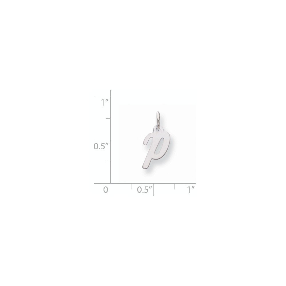 Mia Diamonds 14k White Gold Small Script InitialP Charm