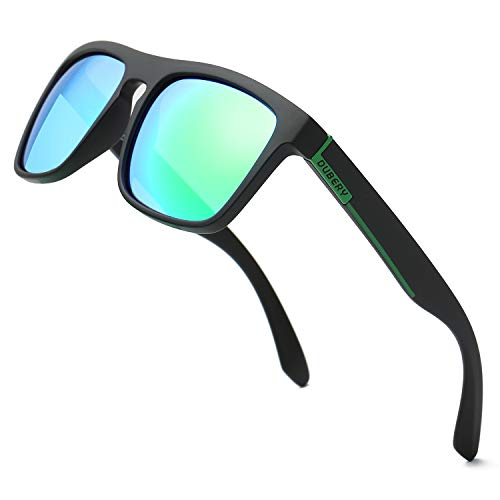 DUBERY Polarized Sunglasses Classic 100% UV Protection Reflective Color Mirror Large Square for Men&Women-D731 ()