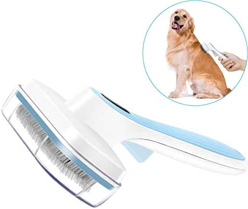 UPSKY Dog Brush & Cat Brush Self Cleaning Dog Slicker Brush Easy to Clean Pet Grooming Brushes Shedding Grooming Tools for Dogs & Cats with Long or Short Hair… (Blue)