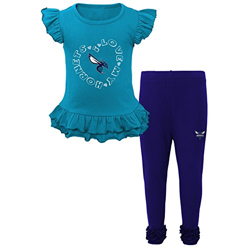 "NBA Kids ""Team Love"" Ruffle Shirt and Pant Set Charlotte Hornets-Hornets Purple-L(6X)"