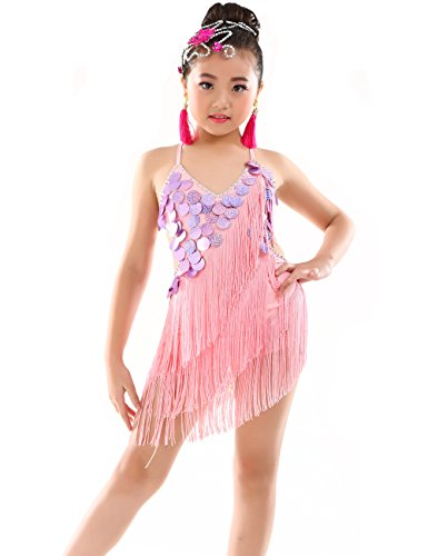 Children's Salsa Costumes (Astage Girl Latin Dance Performance Dress Tassel Skirts Salsa Chacha Rumba Pink)