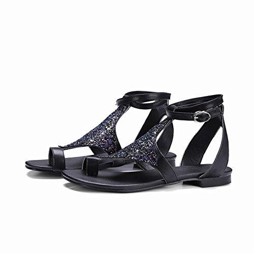 Mee Shoes Damen flach Pailletten Slingback Sandalen Schwarz