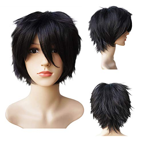 Another Me Women Men's Layered Short Straight Wig Natural Black Hair Heat Resistant Fiber Wig Party Cosplay Accessories]()