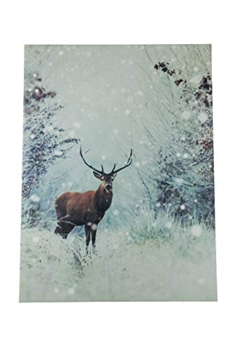 (Clever Creations Snowy Deer Light Up Poster | Sparkling Canvas Wall Art with Bright LED Lighting | 15.75