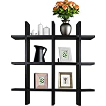 Sorbus Floating Shelf — Cross Grid Hashtag Wall Shelf Cube, Decorative Hanging Display for Trophy, Photo Frames, Collectibles, and Much More (Black)