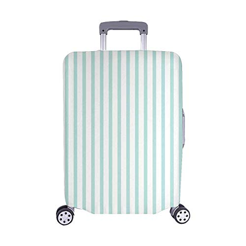 InterestPrint Fashion Mint Stripes Lines Travel Luggage Protector Baggage Suitcase Cover Fits 22