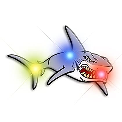 Light Up Shark Flashing Blinking LED Body Light Lapel Pins (5-Pack)